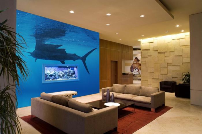 Moderne innenarchitektur wohnzimmer  Unterwasserwelt Wandgestaltung im Wohnzimmer - Archzine.net