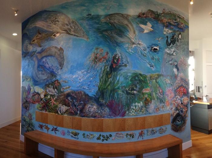 Wandgestaltung Wohnzimmer Delfine Gemalt