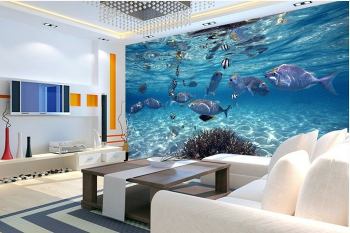 Wandgestaltung-Wohnzimmer-delfine