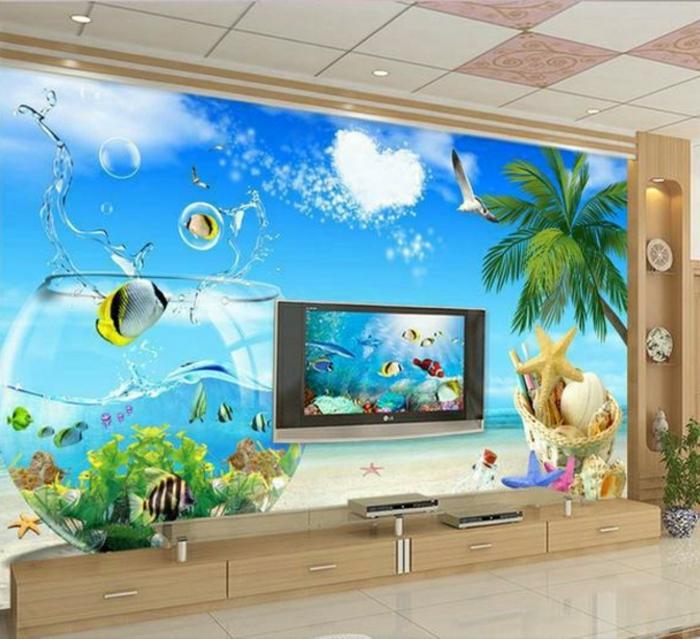 unterwasserwelt wandgestaltung im wohnzimmer. Black Bedroom Furniture Sets. Home Design Ideas