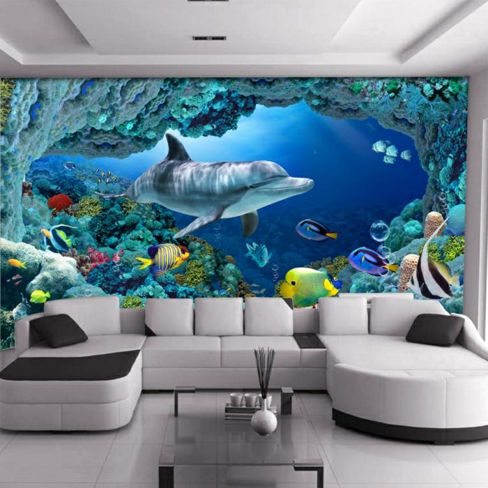 Wandgestaltung-Wohnzimmer--marin-fische-delfine