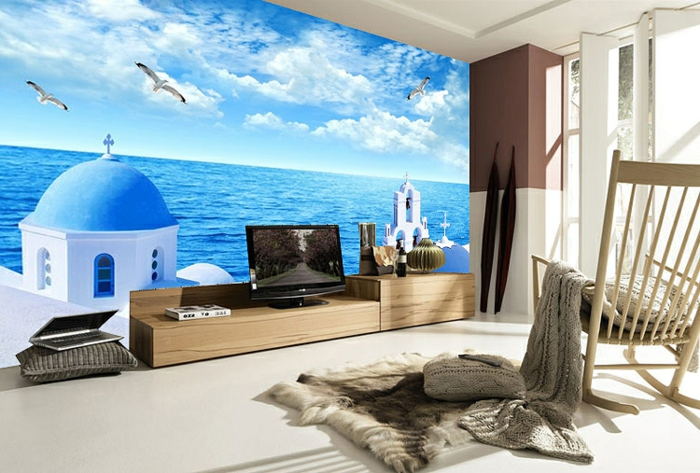 unterwasserwelt wandgestaltung im wohnzimmer. Black Bedroom Furniture Sets. Home Design Ideas