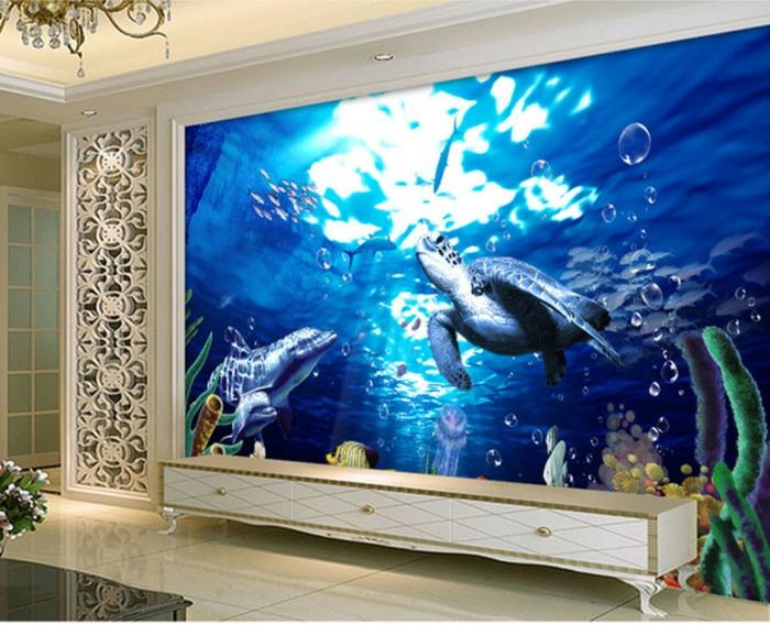 Wandgestaltung-Wohnzimmer-mit-meeresschildkröte