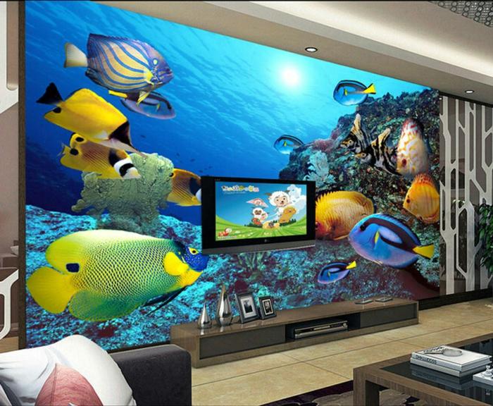 Wandgestaltung-Wohnzimmer-und-fernseher