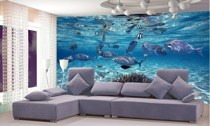 Wandgestaltung-Wohnzimmer-unterwasser-welt-große-sofa
