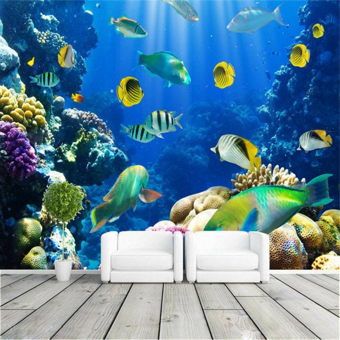 Wandgestaltung Wohnzimmer Unterwasser Welt Zwei Sessel