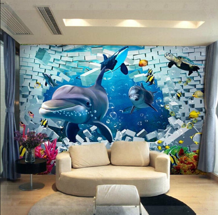 Unterwasserwelt Wandgestaltung im Wohnzimm
