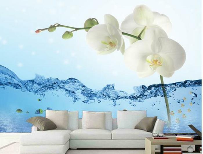 Wandgestaltung-Wohnzimmer-wasse-und-blume