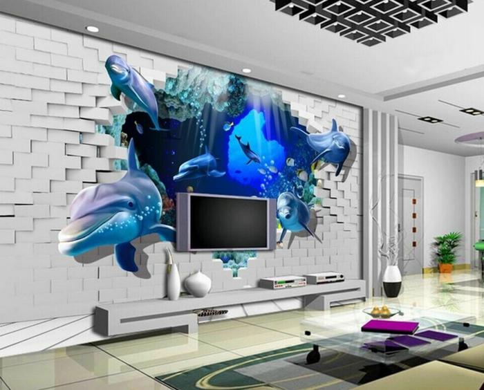 ziegelwand wohnzimmer:Ziegelwand und Delfine Wandgestaltung für Wohnzimmer