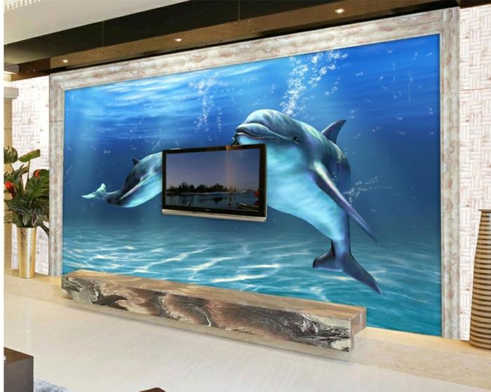 Wandgestaltung-Wohnzimmer-zwei-delfine