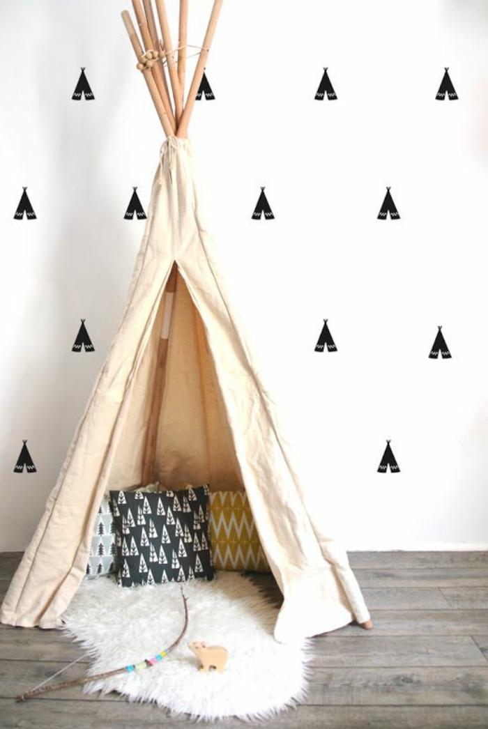 Wandsticker-Kinderzimmer-schwarze-Zelte-echtes-Zelt