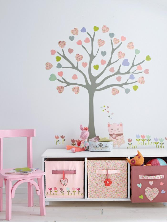 Wandtattoos-für-kinderzimmer-pink-Gestaltung-Baum-Herzen-Tiere-Blumen