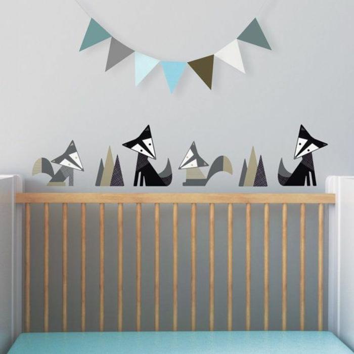 Wandtattoos-für-kinderzimmer-schwarze-graue-Fuchsen