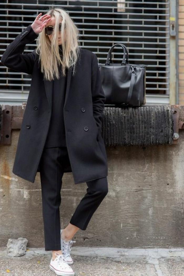Wintermantel-Damen-schwarz-Straßenmode