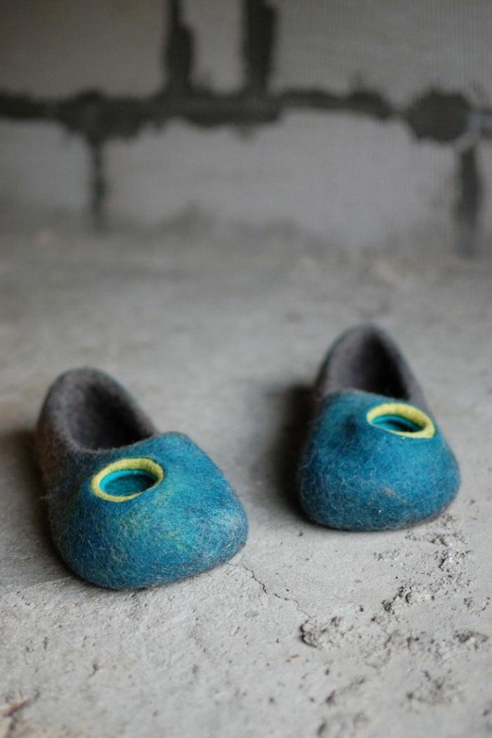 Wolle-Hausschuhe-Damen-Herren-Unisex-Modell