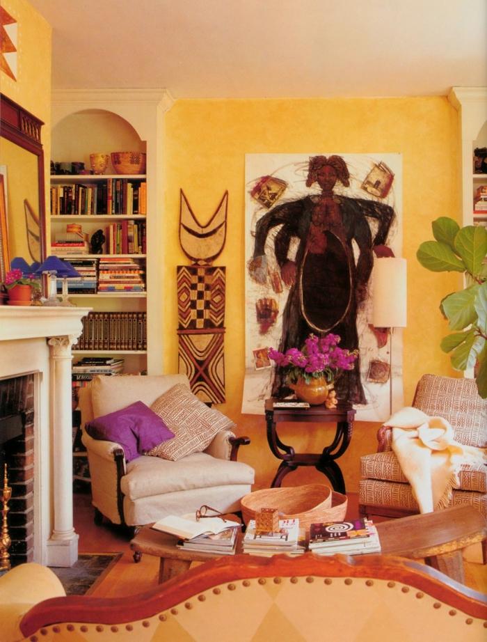 wohnzimmer afrika deko:coole wandgestaltung – afrikanische deko im wohnzimmer