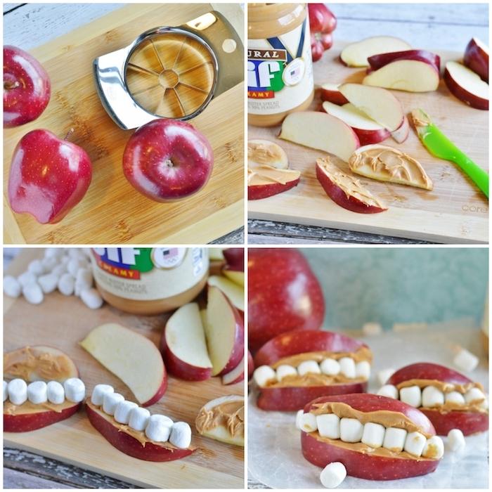 anleitung zähne snacks aus äpfel erdnussbutter marshmallows schritt für schritt halloween snack ideen zubereiten party kinder
