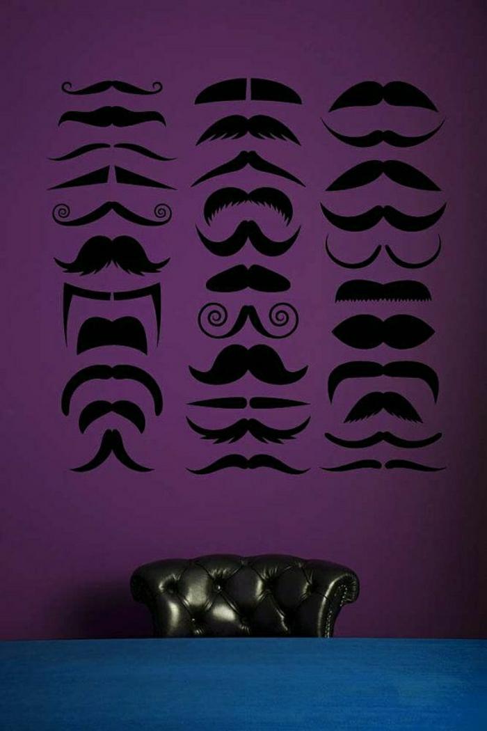 aristokratischer-Sessel-lila-Wand-coole-Wandtattoos-Schnurrbärte