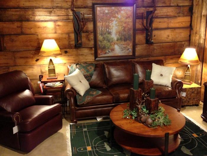 aristokratisches-Interieur-rustikale-Möbel-elegant-stilvoll-Holz-Leder