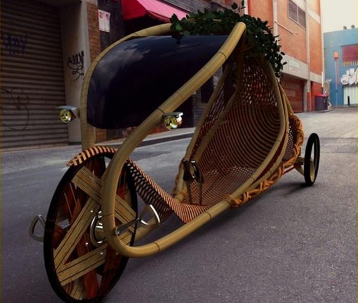 bambus-liegendes-Fahrrad-cooles-Design-vintage-Modell