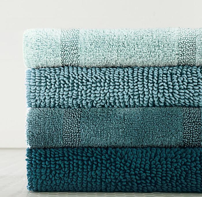 baumwolle-badematte-super-schöne-blaue-tücher