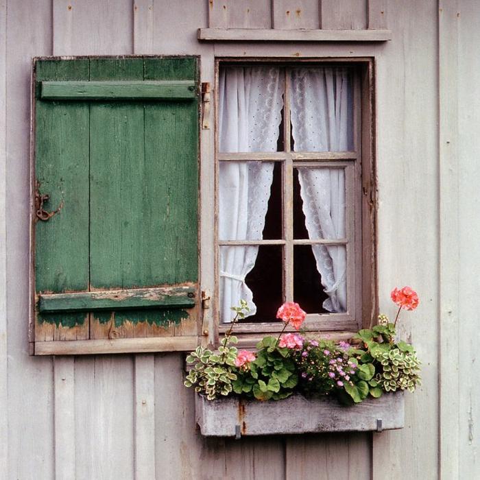 bezauberndes-Foto-kleines-Fenster-Blumen-schöne-weiße-Gardinen-Fensterläden-Holz-romantisch