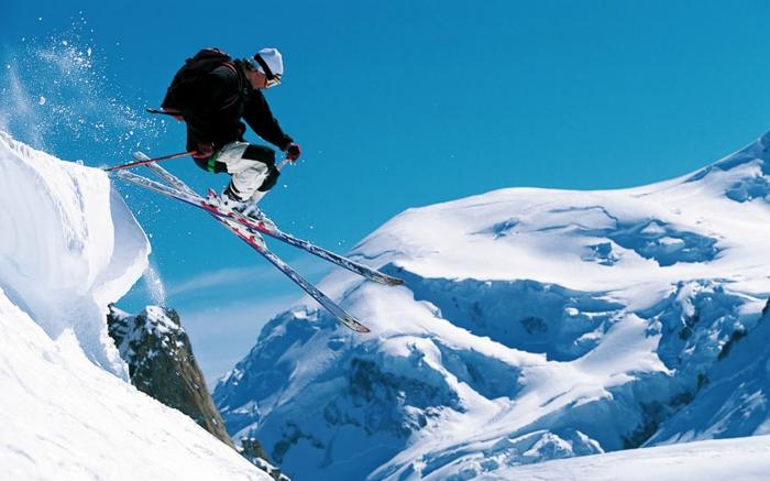 richtig schöne skifahren bilder - blauer himmel