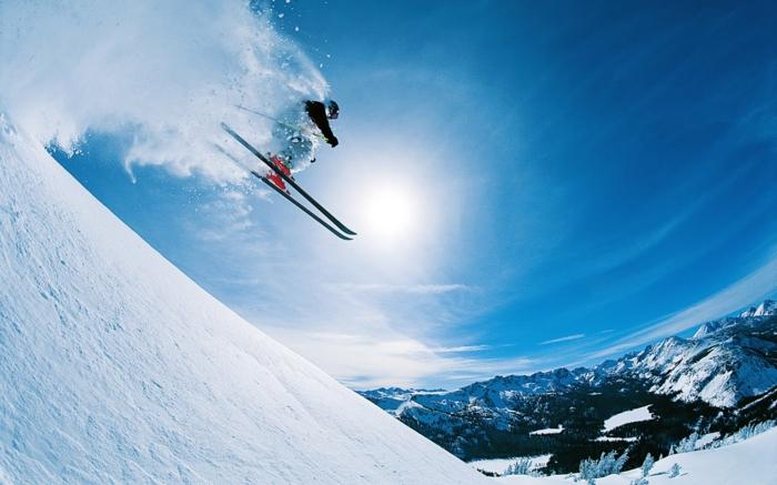 super toll wiirkende skifahrer bilder - blauer himmel