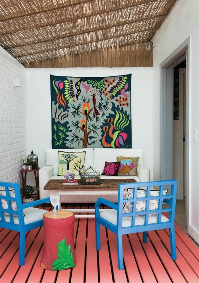 bunte-Zimmer-Gestaltung-Boho-Stil-Kissen-Leinwand-Dekoration