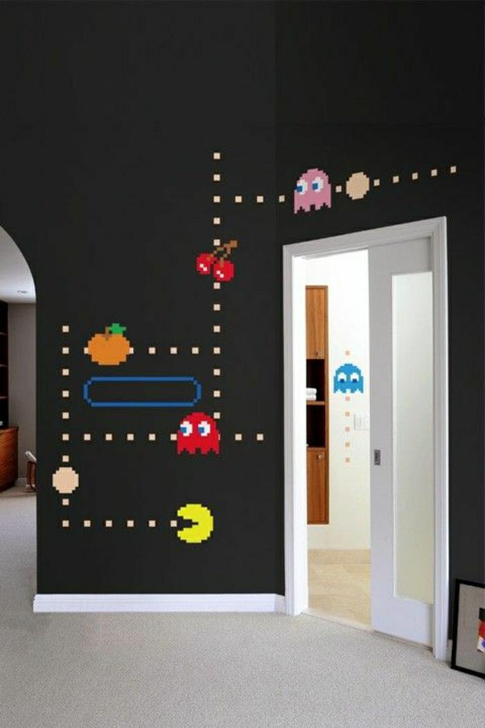 coole-Wandtattoos-schwarze-Wände-Pac-Man