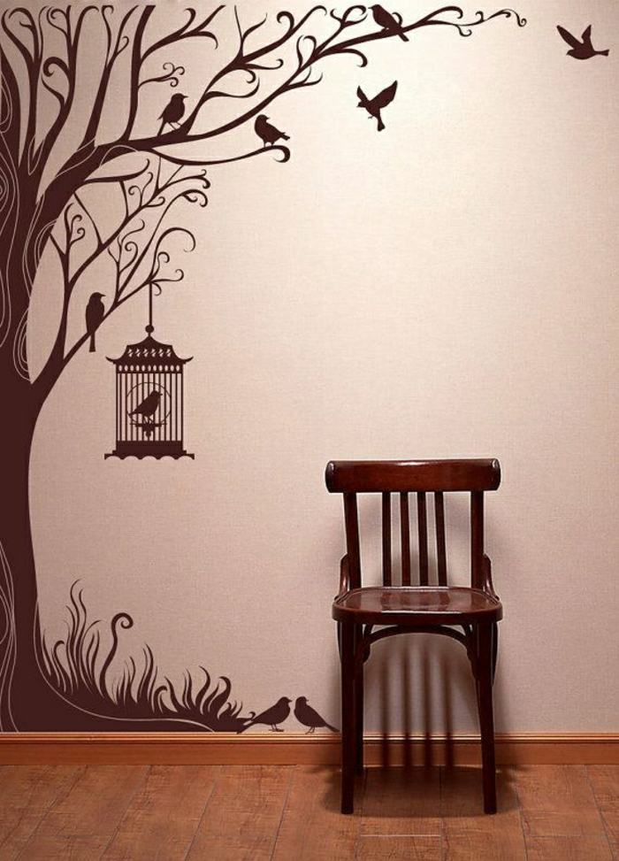 cooler-Wandsticker-Baum-Vögel-Käfig-Stuhl