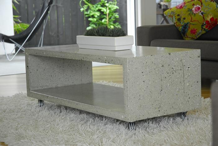 couchtisch aus beton eine extravagante idee. Black Bedroom Furniture Sets. Home Design Ideas