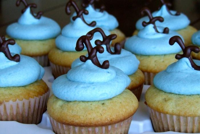 cupcakes-Vanille-Frischkäse-Frosting-blau-Schokoladen-Dekoration