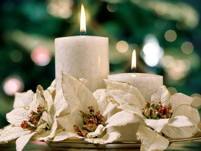deko-ideen-Weihnachten-Tischdekoration-weiß