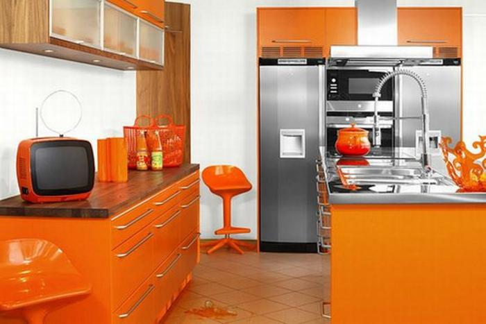 deko-ideen-für-küche-orange-gestaltung
