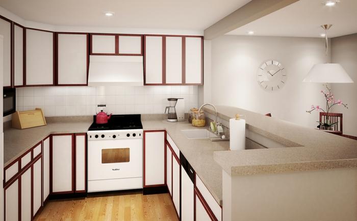 deko-ideen-für-küche-weiße-schränke-rote-linien