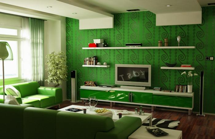 einmaliges-Interieur-grüne-Tapeten-Ornamente-Schränke-Sofas-frisch