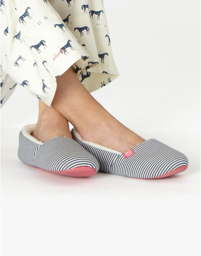 elegante-Damen-Hausschuhe-Streifen-Textil
