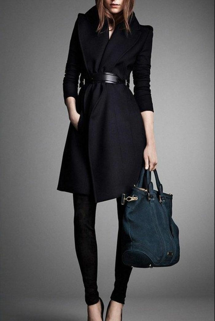 eleganter-Mantel-Damen-schwarz-A-Silhouette