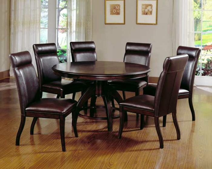 elegantes-Möbel-Set-Esstisch-rund-Holz-Leder-Stühle-gleiche-Farbe
