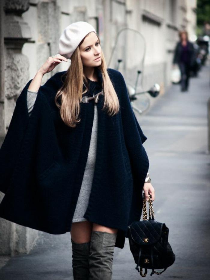 fantastischer-Outfit-Straßenmode-modern-aktuell-Barett-Mütze-Creme-Farbe