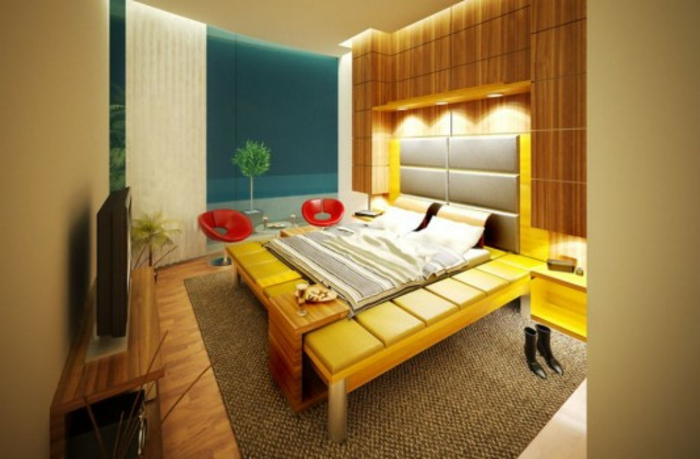 farbliche-raumgestaltung-gelbes-modell-von-bett