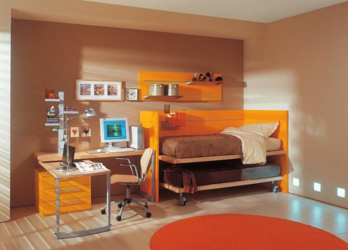 farbliche-raumgestaltung-orange-kinderbetten