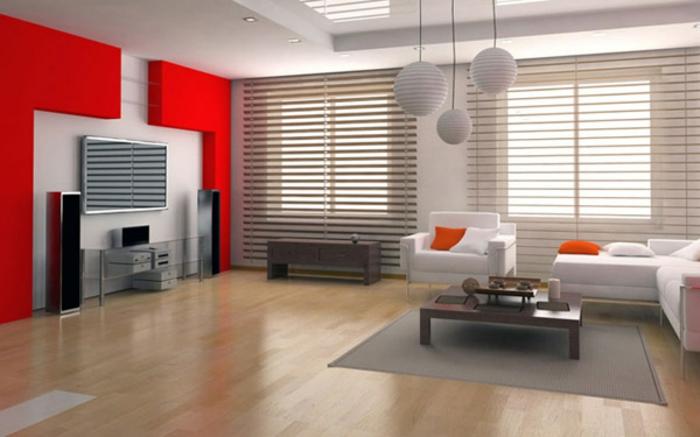farbliche-raumgestaltung-rote-wand-und-graue-akzente