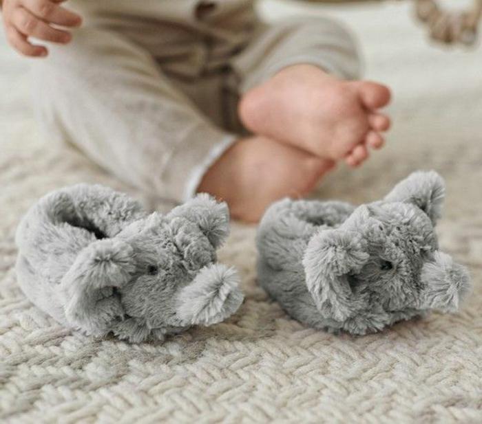 flaumige-hausschuhe-Babys-Kinder-Elefant-Muster