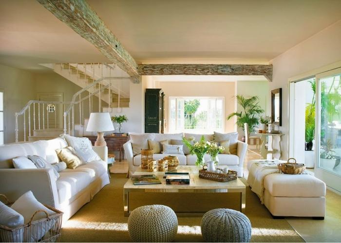 gemütliche-Wohnzimmer-Gestaltung-rustikale-Elemente-Creme-Farbe-beige-braun