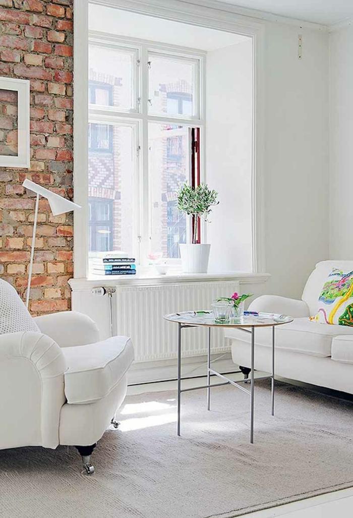 wohnzimmer ziegelwand:gemütliches-wohnzimmer-eine-attraktive-ziegelwand