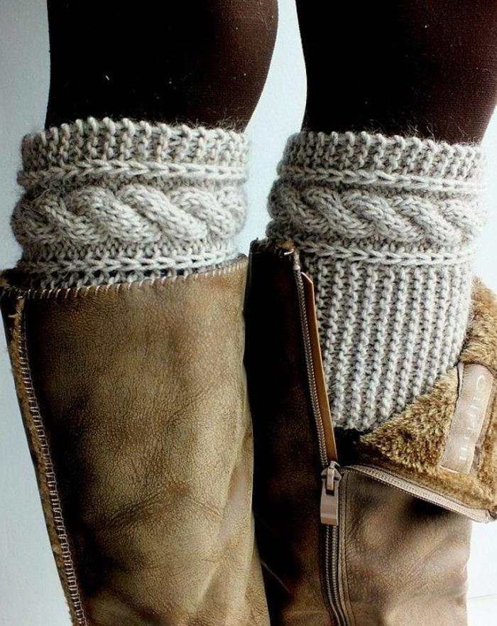 gestrickte-Socken-Damen-Hausschuhe-Stiefel