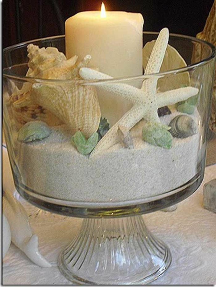 gläzerne-Schale-Sand-Muscheln-Seesterne-Kerze
