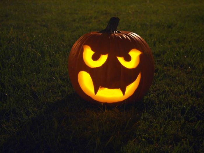 schöne halloween gesichter - auf dem gras